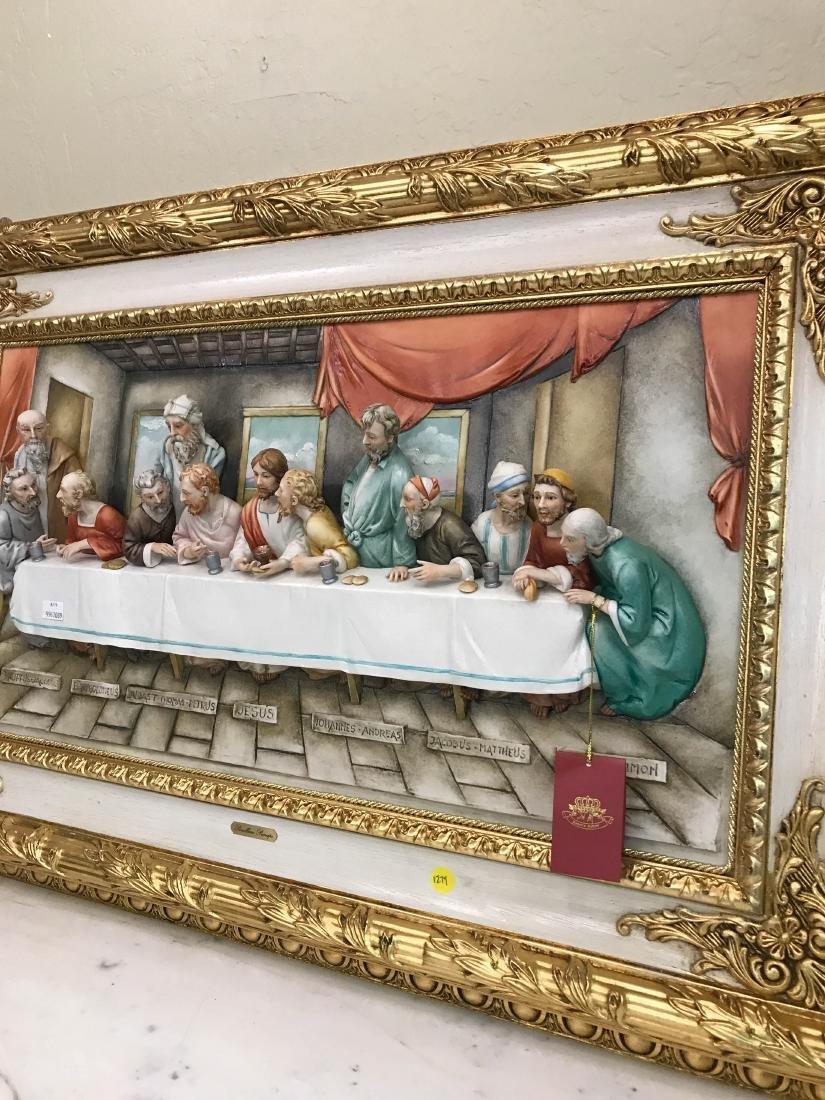 "Capodimonte Porcelain Plaque Relief ""The Last Supper"" - 9"