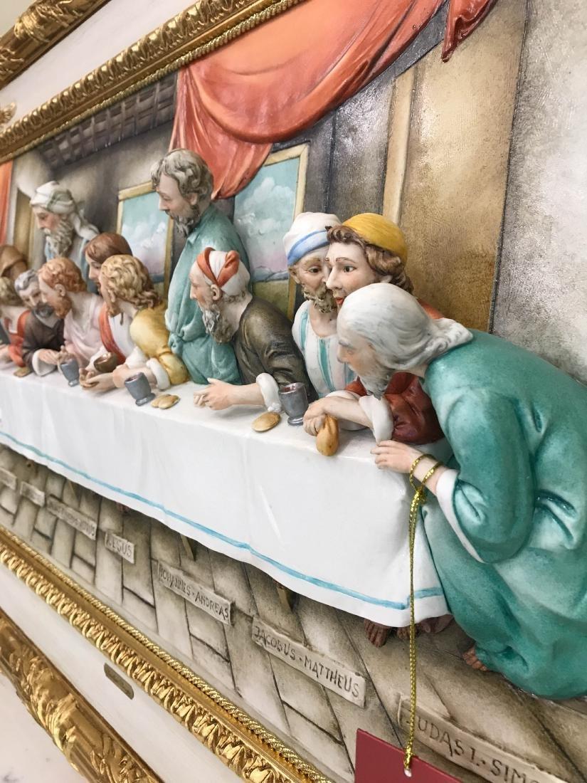 "Capodimonte Porcelain Plaque Relief ""The Last Supper"" - 3"