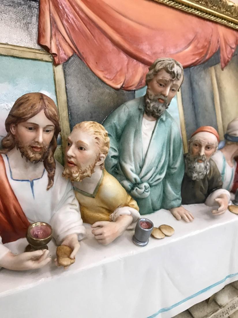 "Capodimonte Porcelain Plaque Relief ""The Last Supper"" - 5"