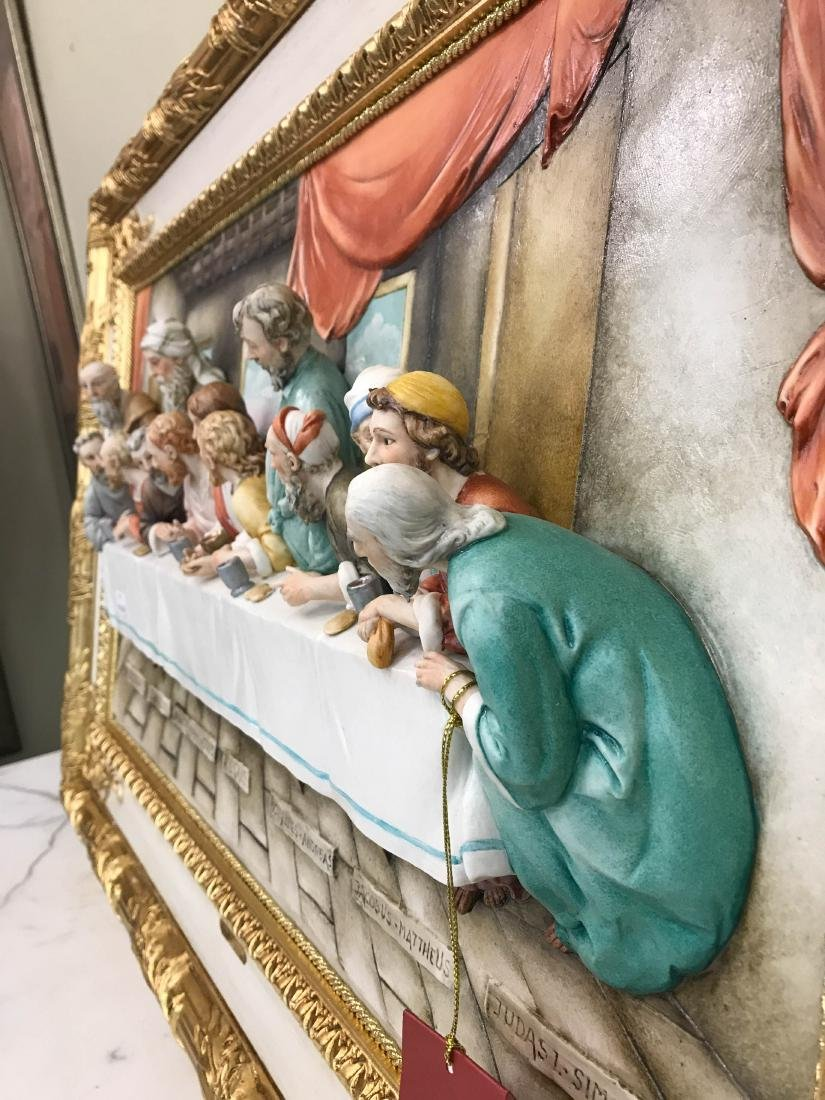 "Capodimonte Porcelain Plaque Relief ""The Last Supper"" - 7"