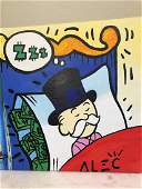 Oil On Canvas Alec Monopoly  Reproduction -Man Sleeping