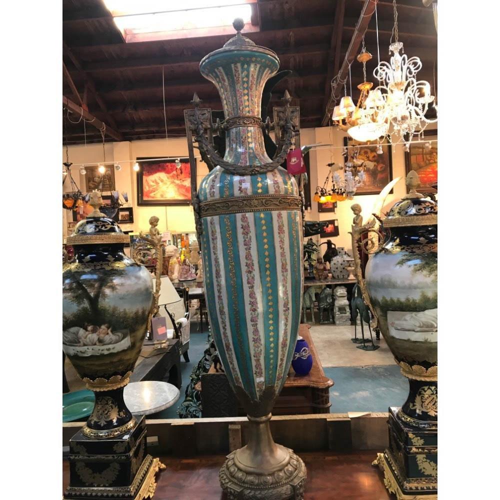 Large Porcelain Vase w/ Bronze Accents