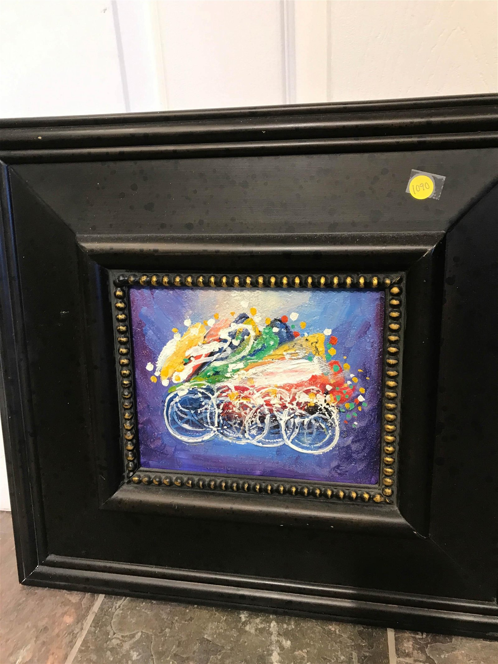 Abstract Oil on Canvas of Bicycles, Framed