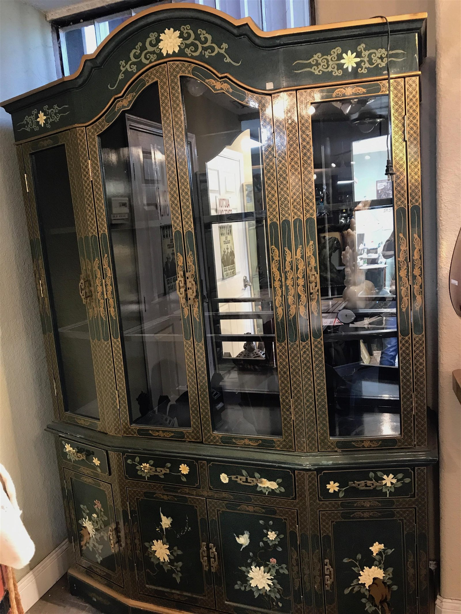 Hand-Painted Wood and Glass Cabinet w/ Floral Design