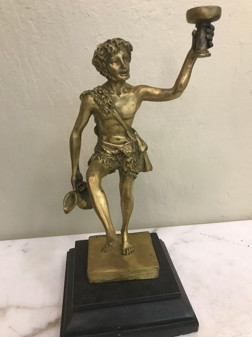 Unique Bronze Statue of Man Holding a Cup, Signed