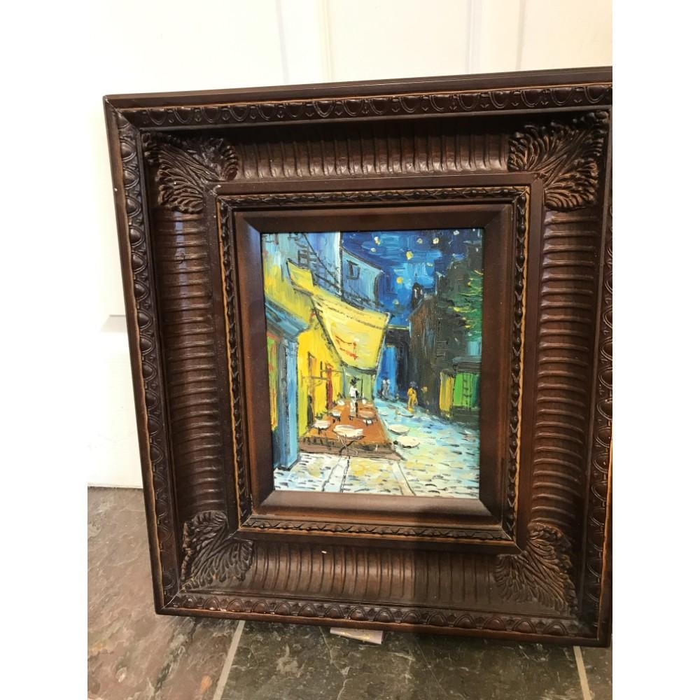 Small Oil on Canvas of Street Scene at Night