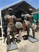 Pair of Large Bronze Soldiers w/ Sword + Shield