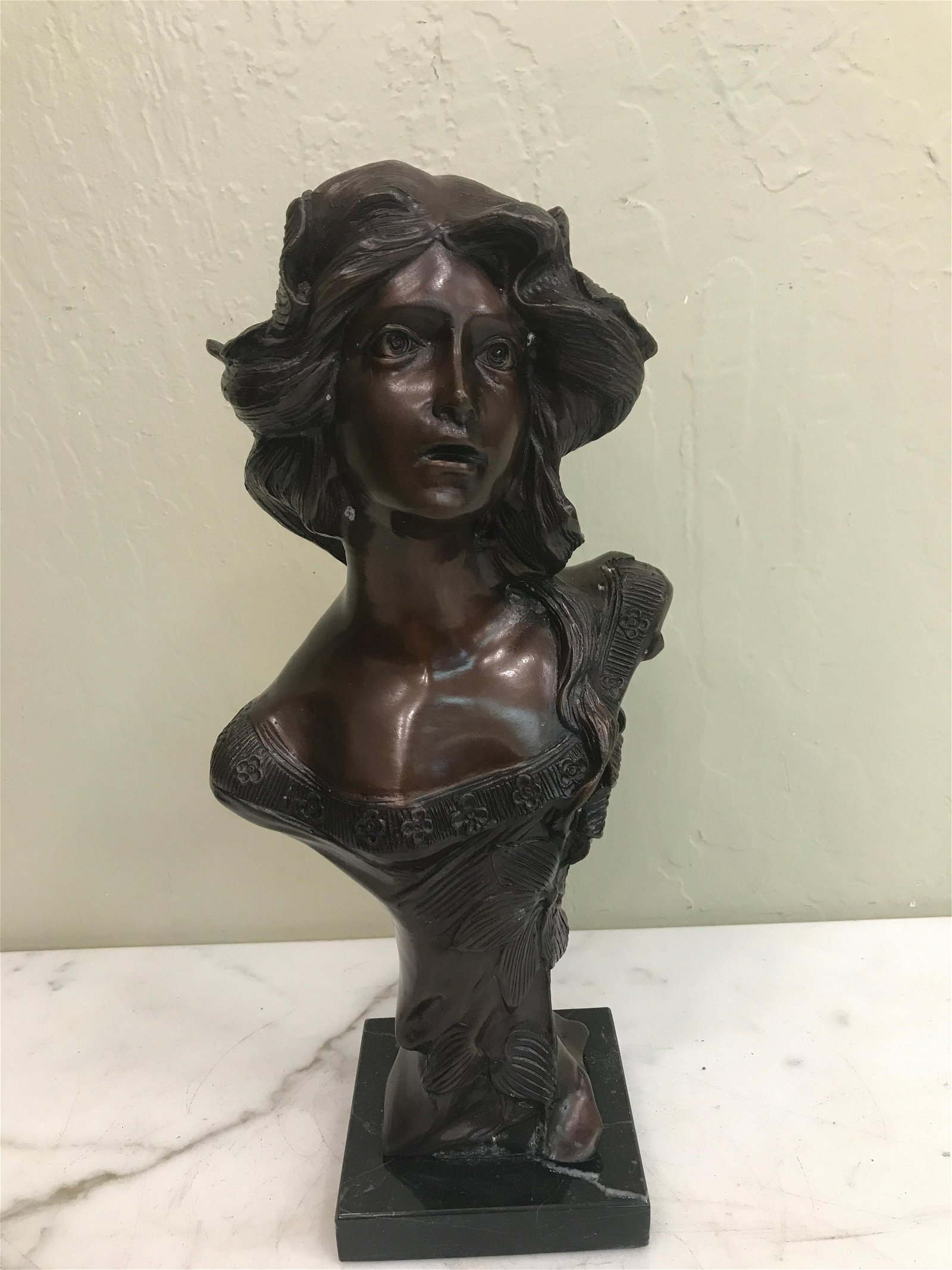 Bronze Bust of Woman on Marble Base