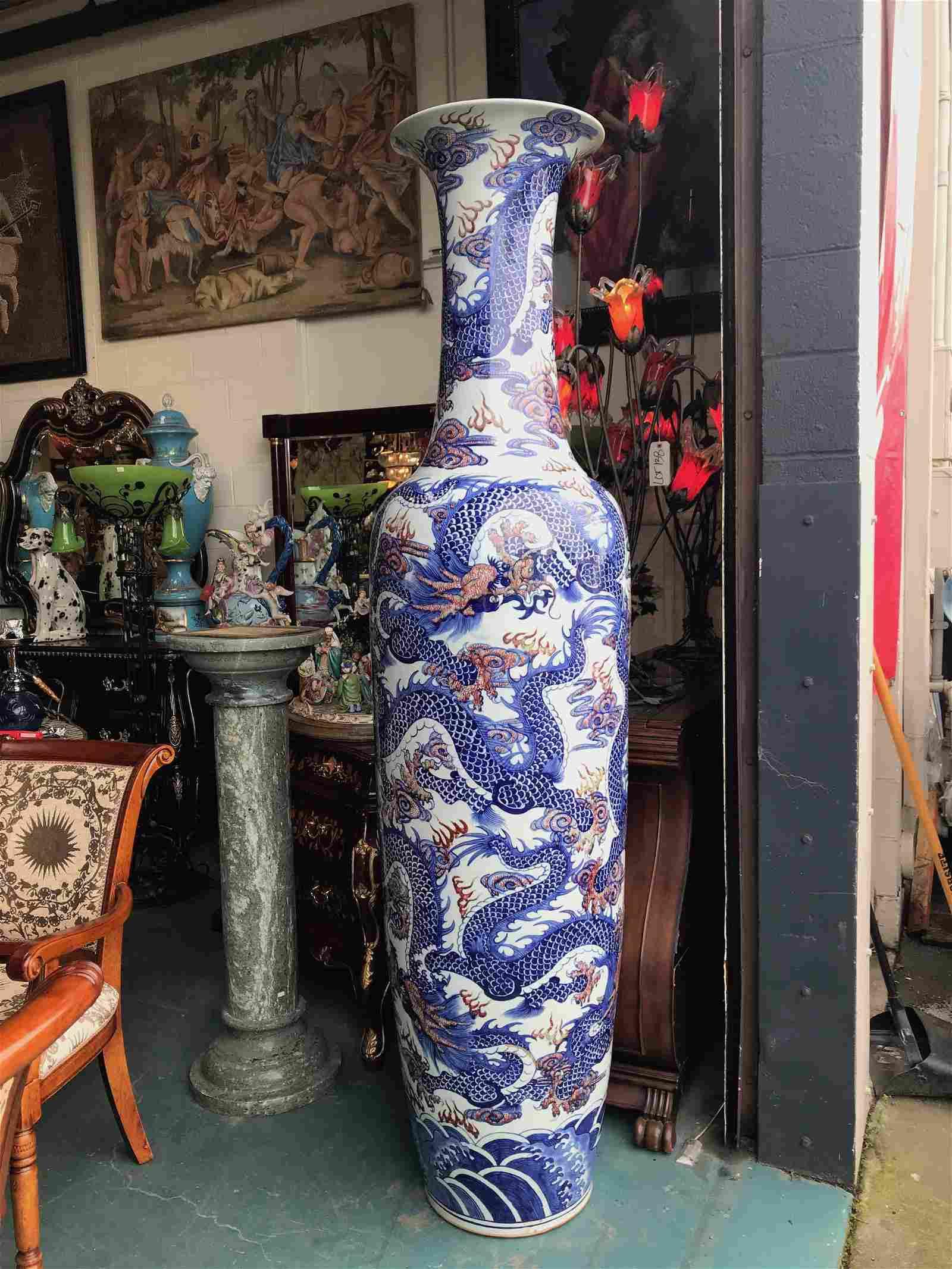 Large Blue Underglaze Chinese Vase