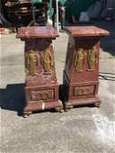 Pair of Terracotta Marble Pedestals