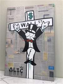 Oil on Canvas, Man on Cross, Alec Monopoly Reproduction