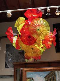 Spectacular Hand Blown Glass Chandelier