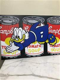 Oil on Canvas - Donald Duck Diving into Campbell Soup -