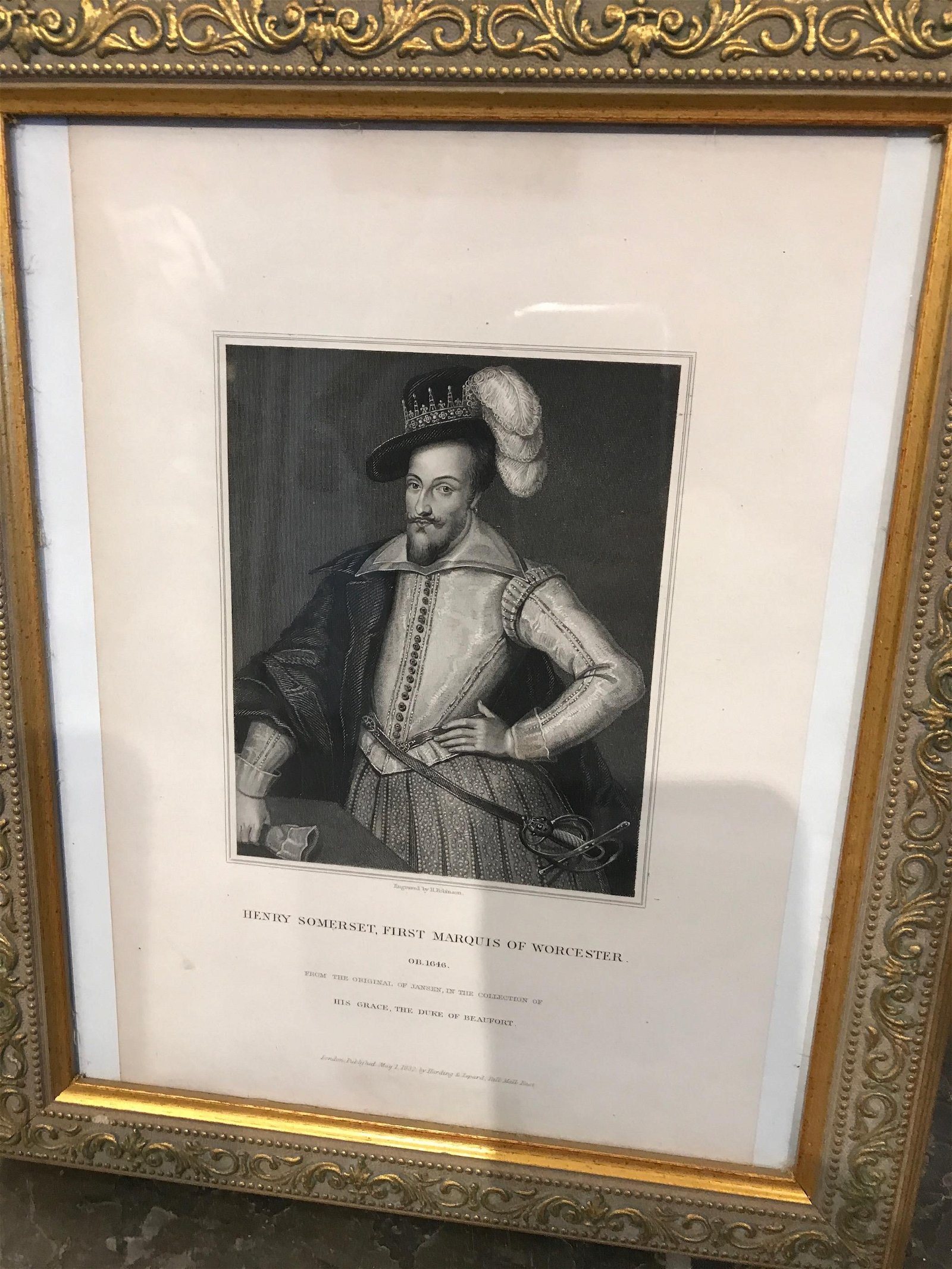 Vintage Print on Paper - Henry Somerset, First Marquis