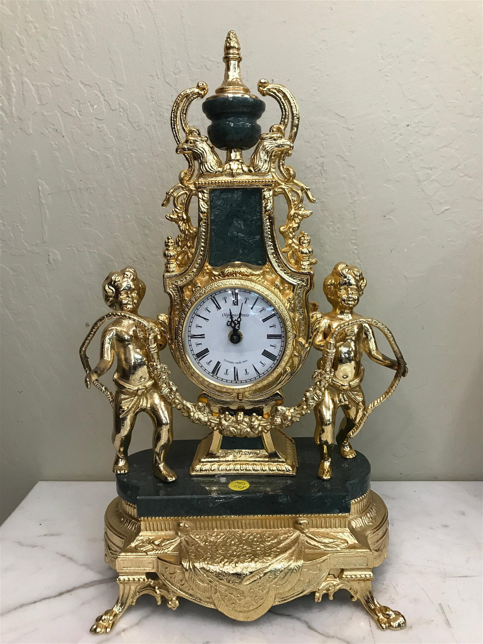 Gilded Bronze and Marble Clock with Angels