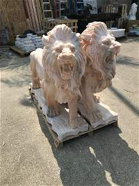 Large Pair of Marble Lions - Salmon Color