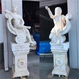 Pair of Spectacular Marble Statues in Travertine Color