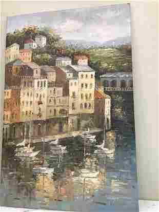 Abstract Oil on Canvas - Italian Port Scenery