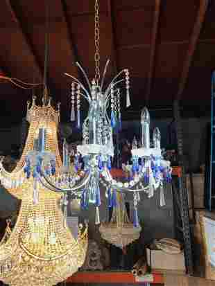 Unique Art Deco Crystal and Chrome Metal Chandelier