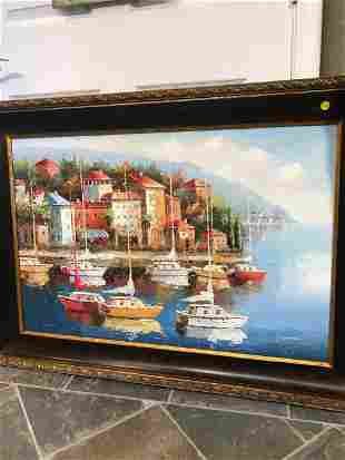 Oil on Canvas - Italian Scenery with Sailing Boats