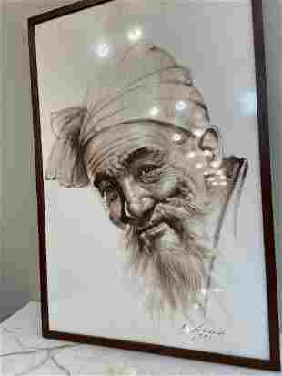 Drawing on Silk on Wood Panel - Japanese Old Man