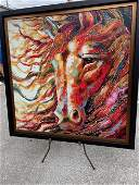 Large Abstract Oil on Canvas Horse Head