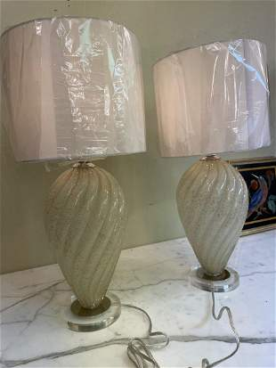 Magnificent Pair of Modern Hand Blown Glass Table Lamps