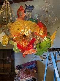 Spectacular Large Hand Blown Glass Modern Chandelier