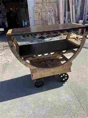 Rustic Wooden Bar Cart on Wheels