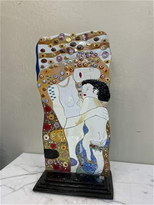 Italian Glass Mosaic Statue of Mother and Child