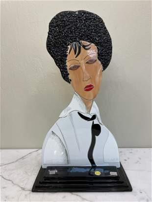 Abstract Glass Mosaic Statue of Woman