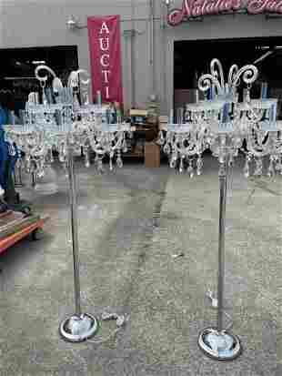 Pair of Chandelier-Style Crystal Floor Lamps