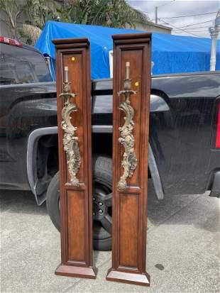 Pair of Bronze Light Sconces on Panel