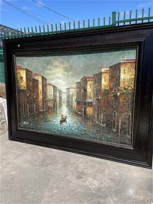 Large Oil on Canvas Painting - Venice Scene