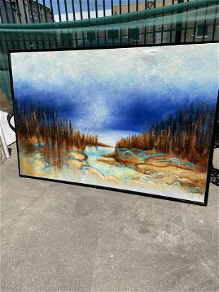 Large Oil on Canvas Painting - River Scene