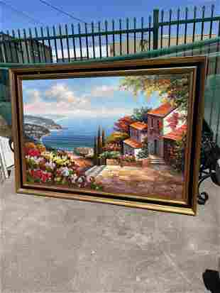 Large Oil on Canvas Painting - Lake Como
