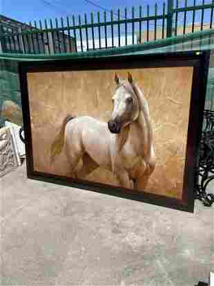Large Oil on Canvas Painting - White Horse