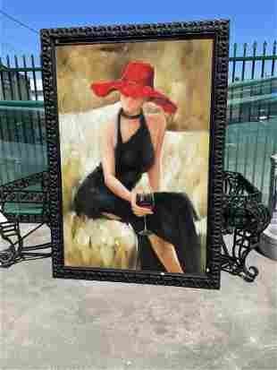 Large Oil on Canvas Painting - Woman in Red Hat