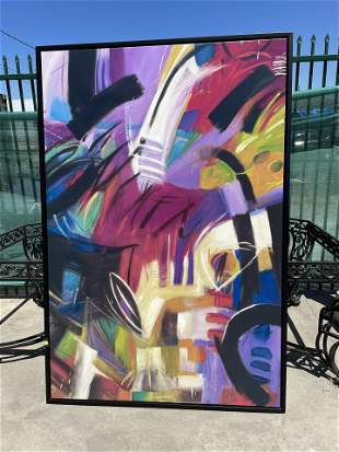 Large Abstract Oil on Canvas Painting