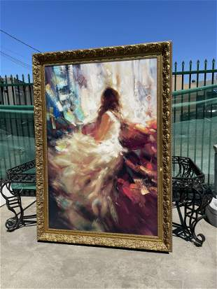 Large Oil on Canvas Painting - Woman in White Dress