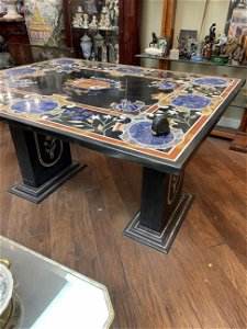 Spectacular Mosaic Table with Precious Stones Inlay