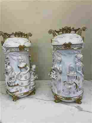 Pair of Bisque Porcelain, 24k Statues