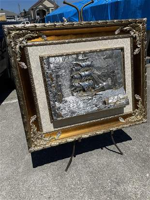 Spectacular Silver and Gold over Bronze Plaque