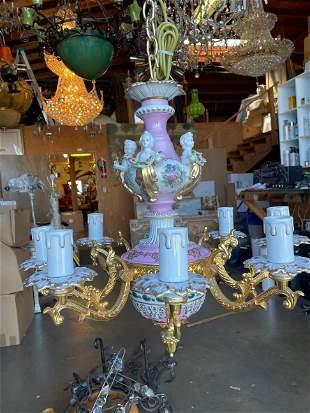 8-Light Porcelain & Bronze Chandelier
