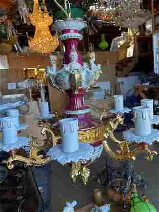 Porcelain & Bronze 8-Light Chandelier