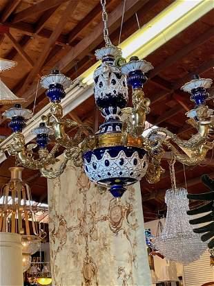 8-Light Porcelain and Bronze Chandelier