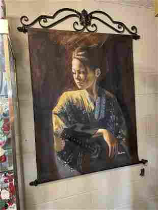 Oil on Canvas-Portrait of Woman w/ Sword, Signed