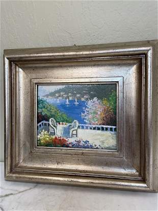 Oil on Panel- Balcony View of Lake Como, Italy