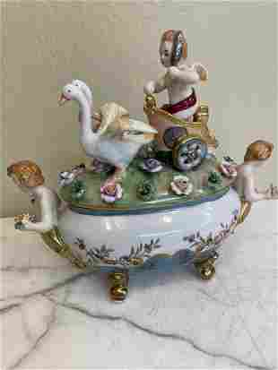 Porcelain Centerpiece with Cherubs and Geese
