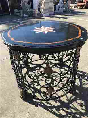 Marble and Bronze Unique Mosaic Round Table